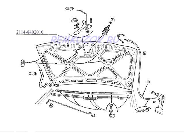 капот ВАЗ 2114, Схема