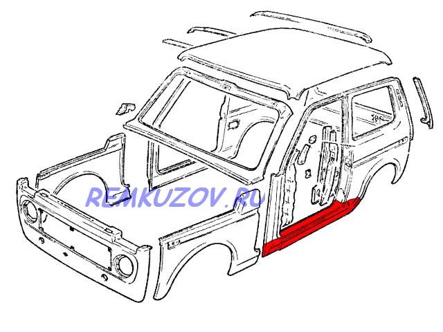 порог правый ВАЗ 2121